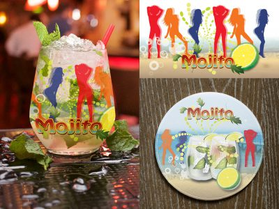 Mojito - Glass Label and Coaster Design