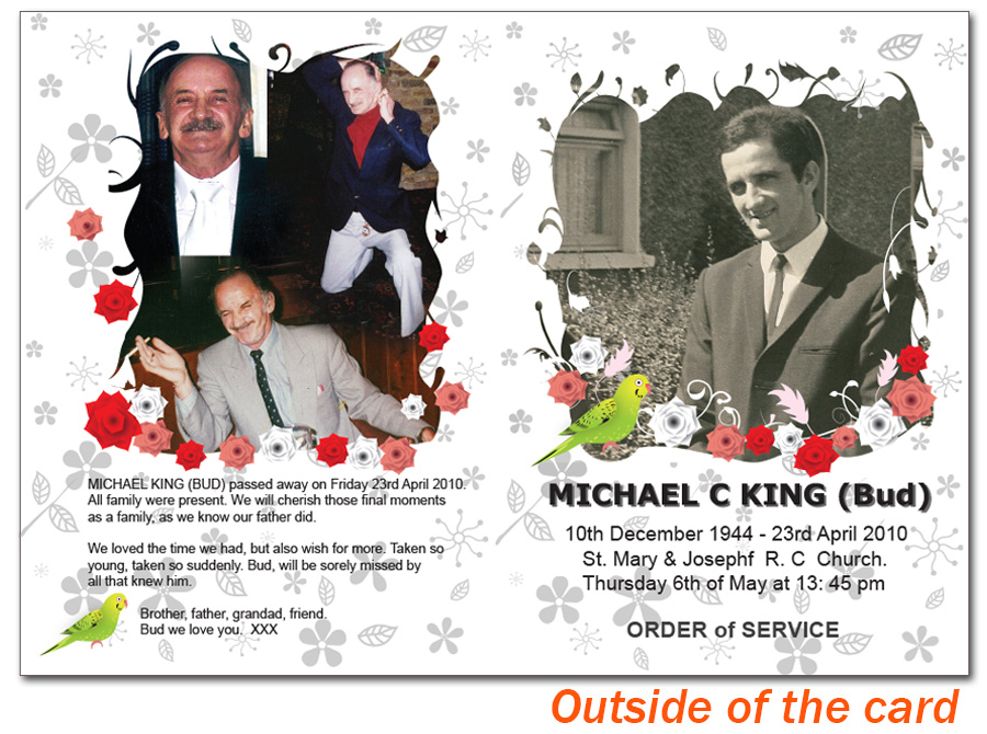 Customized Funeral Invitation Card
