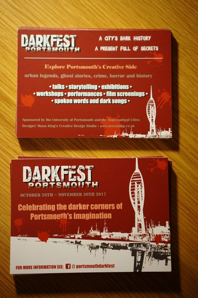 A6 flyer design for Portsmouth DarkFest 2017