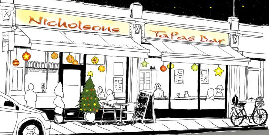 Simple line drawing style illustration for Nicholsons Tapas Restaurant,