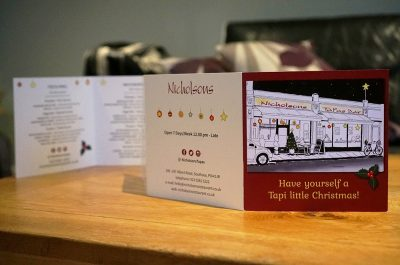 Tri-fold Christmas Menu/Christmas Card design for Nicholsons Tapas Restaurant in Southsea, Portsmouth.