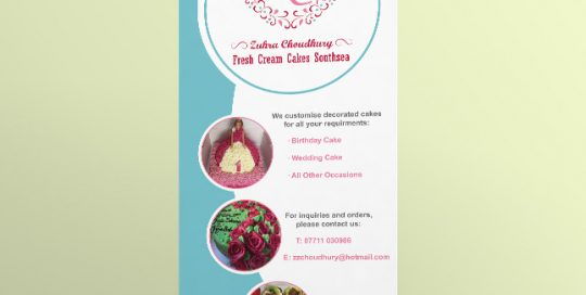 Roller Banner Design for Fresh Cream Cakes Southsea