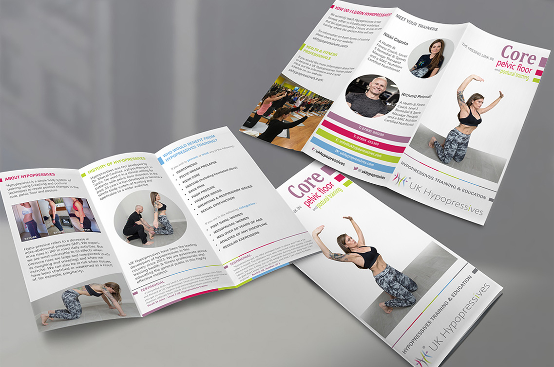 Trifold leaflet design for UK Hypopressives